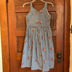 Pastourelle striped embroidered dress size 12